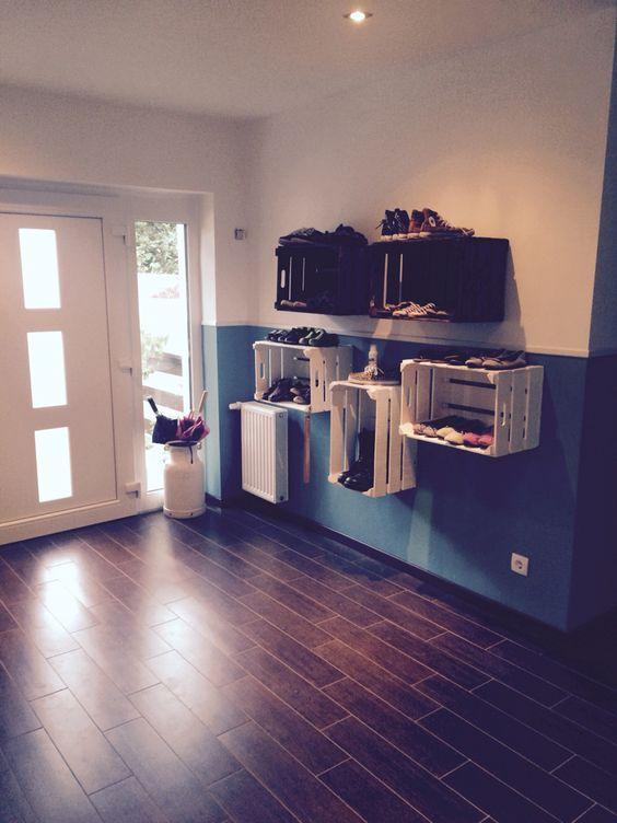 schuhregal aus weinkisten obstkisten diy deko ideen shop. Black Bedroom Furniture Sets. Home Design Ideas