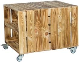 2er Obstkisten Tisch mit Rollen Maße 62 x 50 x 48cm Couchtisch Abstelltisch - geflammt mit Einlage-2