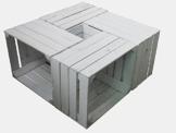 4 Stück weiß lackierte massive gebrauchte Holzkisten für Möbelbau und Dekoration-2